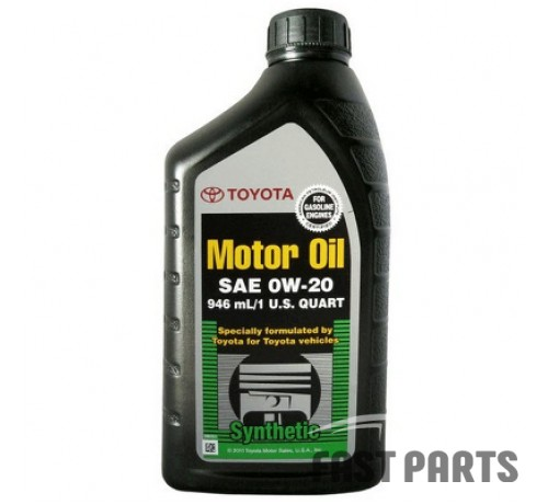 """Масло моторное TOYOTA """"Synthetic Motor Oil 0W-20"""",  0,946л 002790WQTE"""
